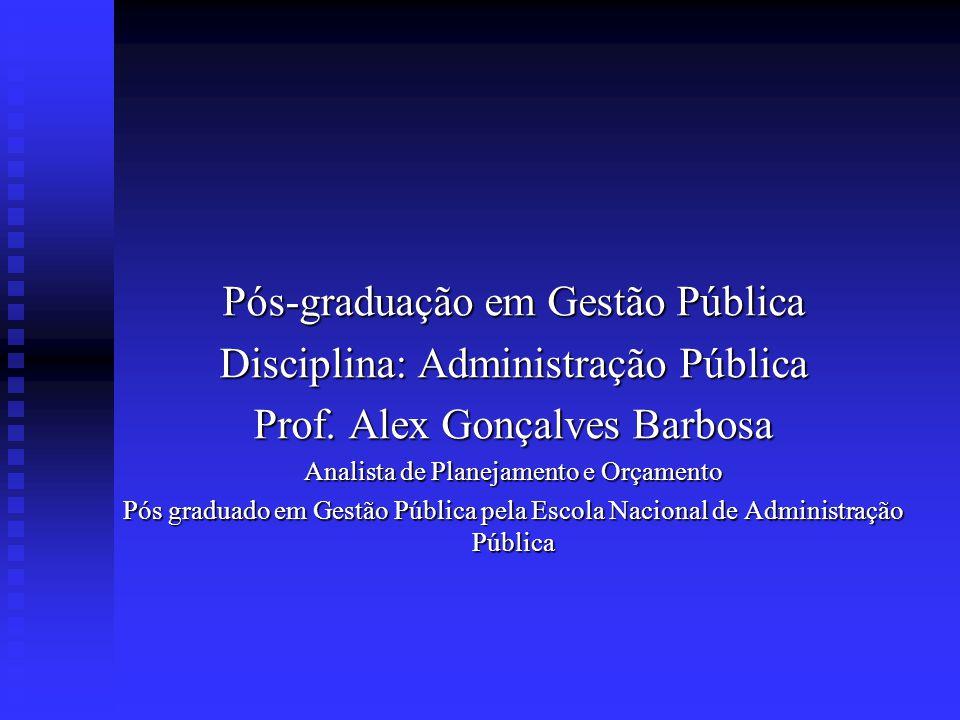 Pós-graduação em Gestão Pública Disciplina: Administração Pública