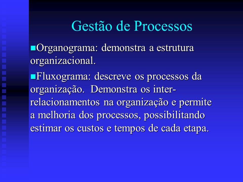 Gestão de Processos Organograma: demonstra a estrutura organizacional.