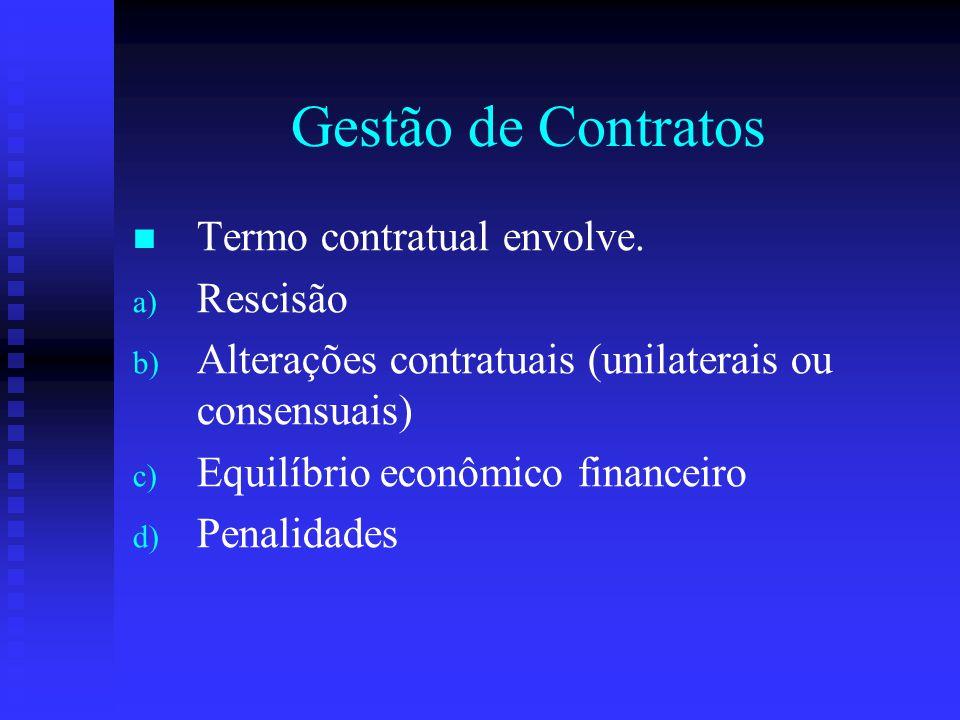 Gestão de Contratos Termo contratual envolve. Rescisão