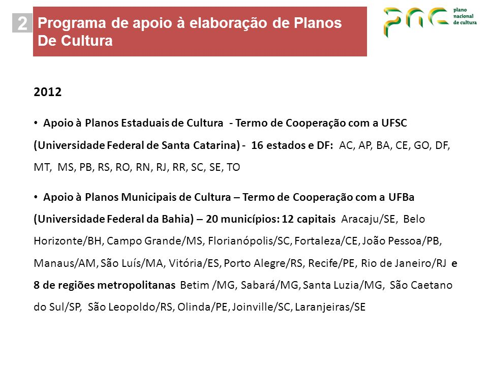 2 Programa de apoio à elaboração de Planos De Cultura 2012