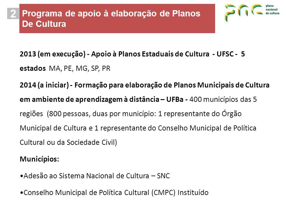 2 Programa de apoio à elaboração de Planos De Cultura