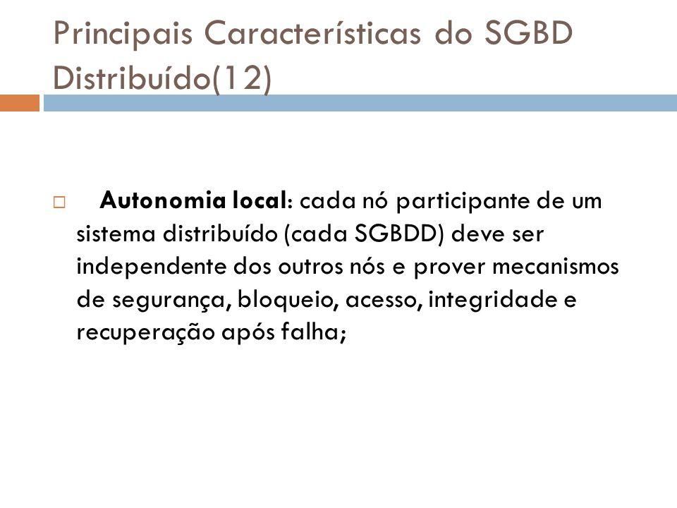 Principais Características do SGBD Distribuído(12)