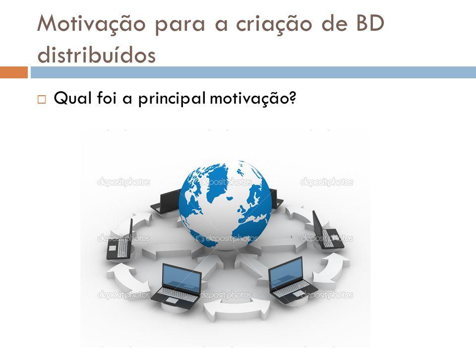 Motivação para a criação de BD distribuídos