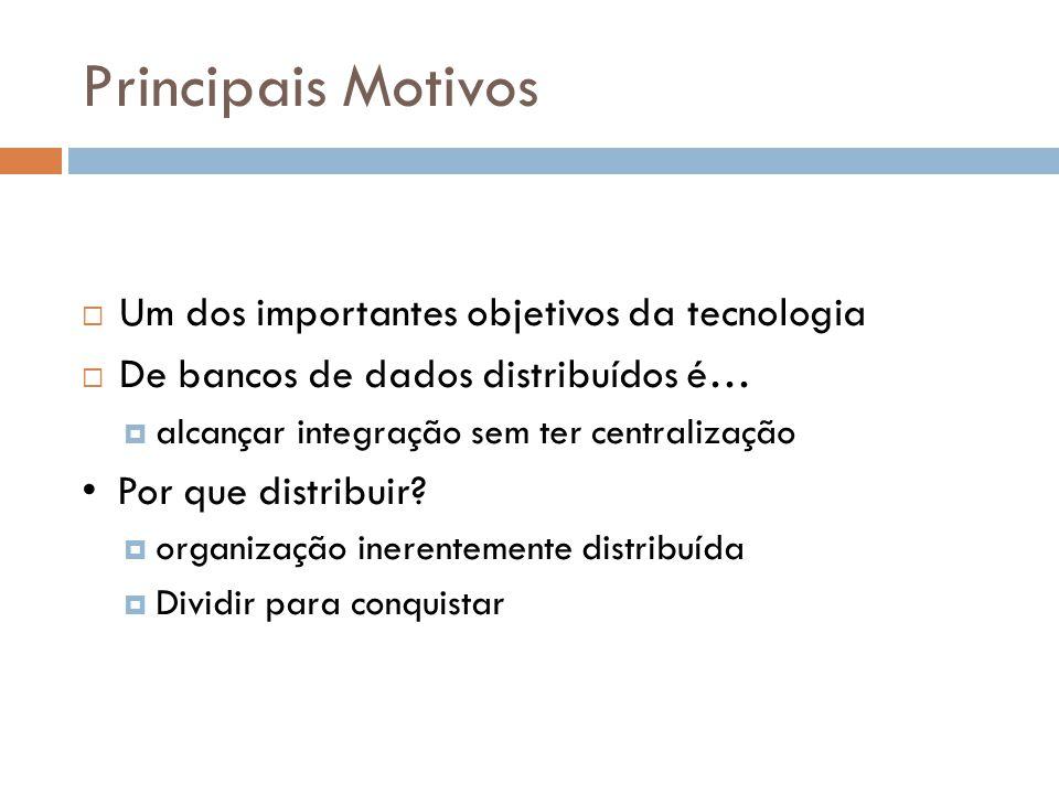 Principais Motivos Um dos importantes objetivos da tecnologia