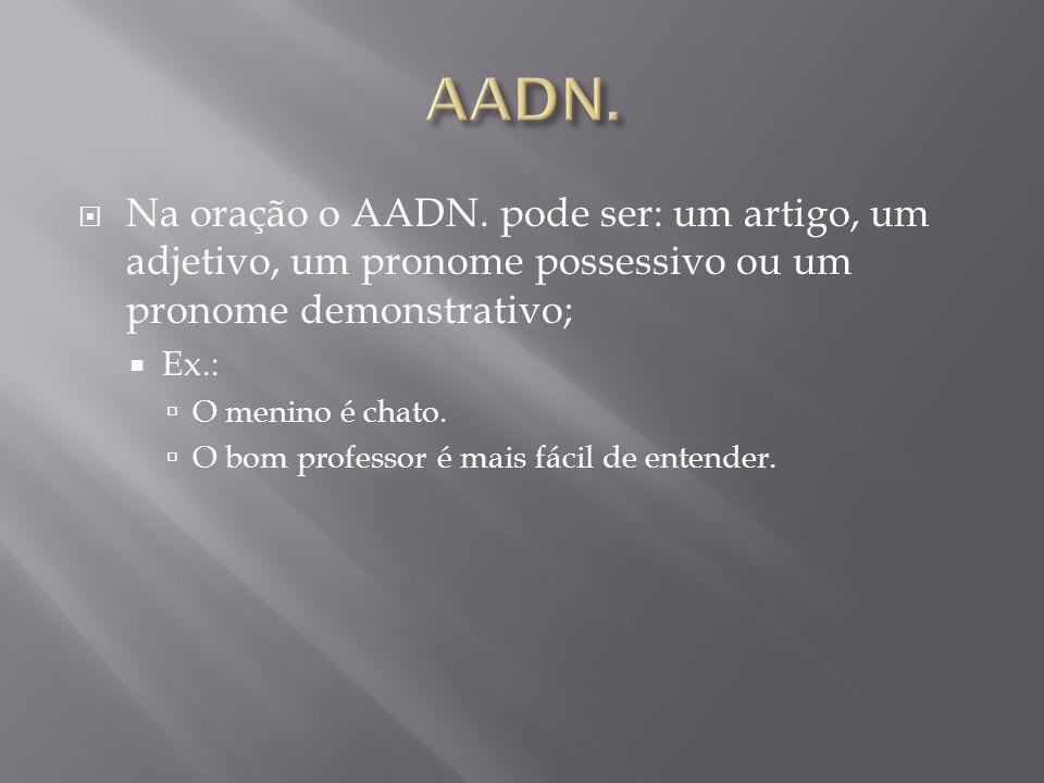 AADN. Na oração o AADN. pode ser: um artigo, um adjetivo, um pronome possessivo ou um pronome demonstrativo;