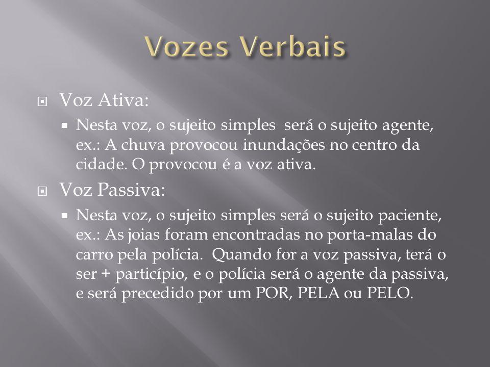 Vozes Verbais Voz Ativa: Voz Passiva: