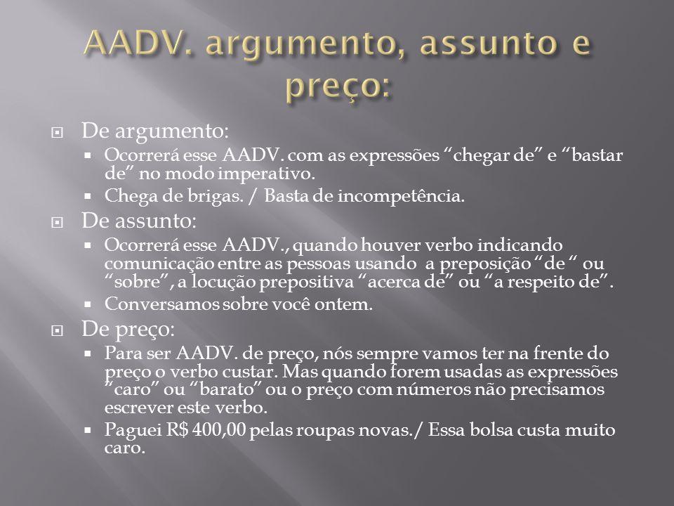 AADV. argumento, assunto e preço:
