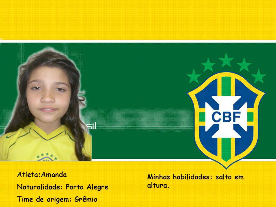 Atleta:Amanda Naturalidade: Porto Alegre. Time de origem: Grêmio.