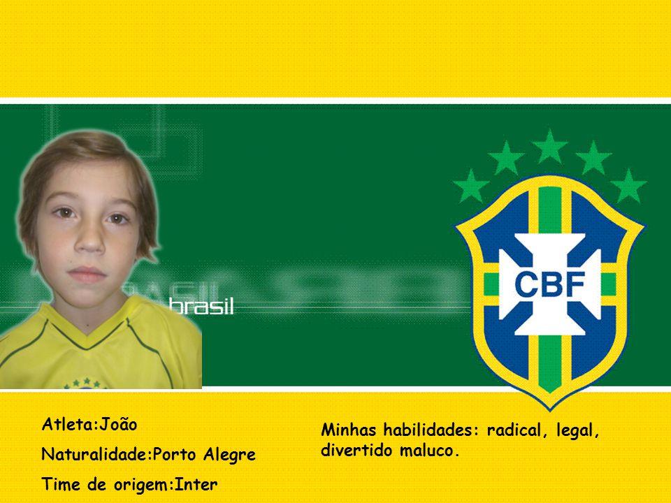 Atleta:João Naturalidade:Porto Alegre. Time de origem:Inter.