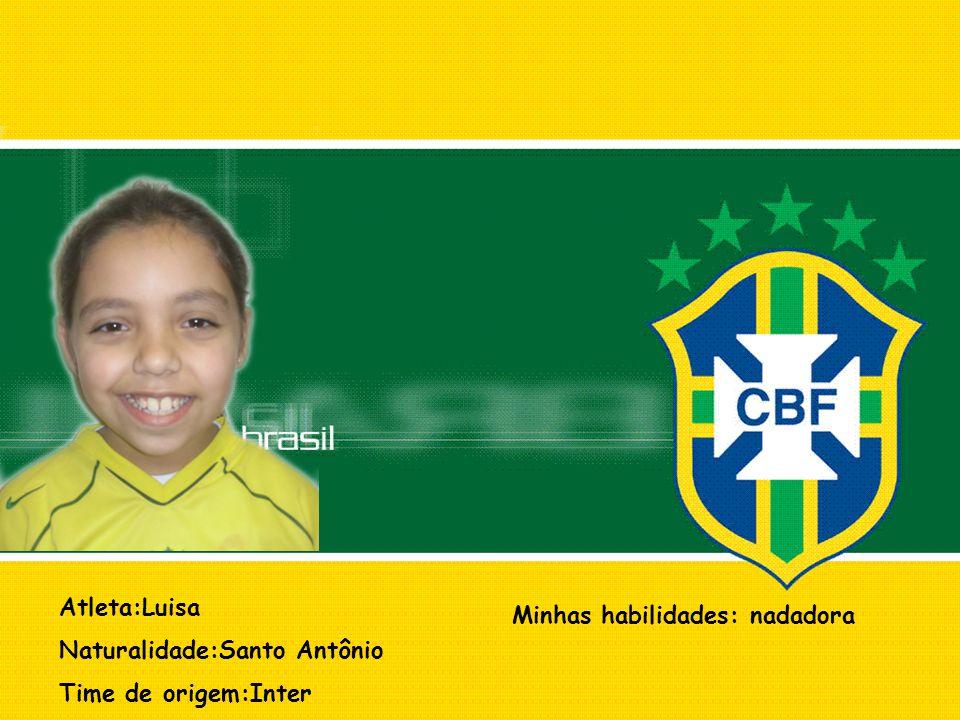 Atleta:Luisa Naturalidade:Santo Antônio Time de origem:Inter Minhas habilidades: nadadora