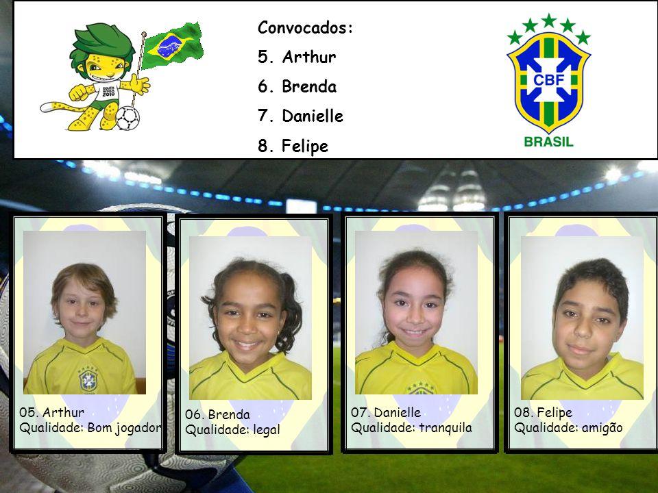 Convocados: 5. Arthur 6. Brenda 7. Danielle 8. Felipe 05. Arthur
