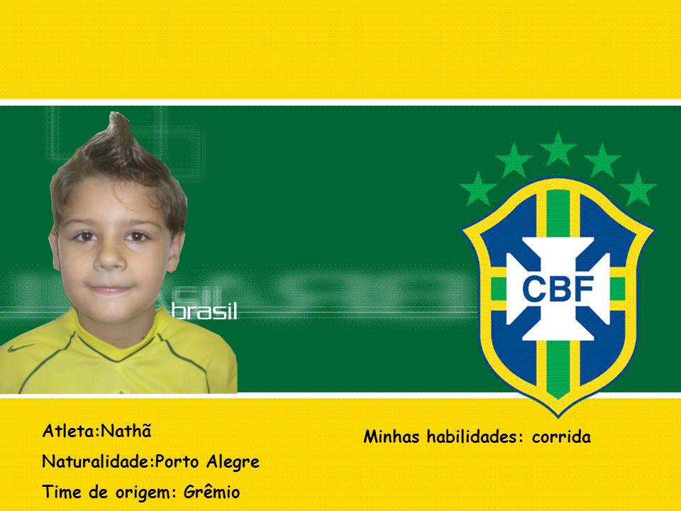 Atleta:Nathã Naturalidade:Porto Alegre Time de origem: Grêmio Minhas habilidades: corrida