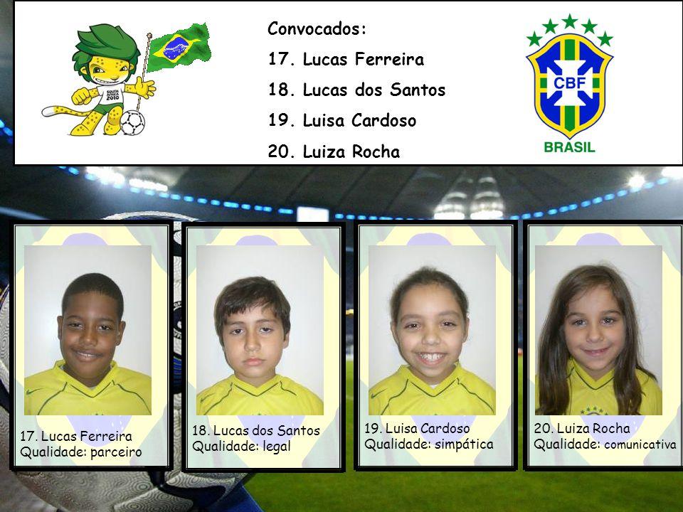 Convocados: 17. Lucas Ferreira 18. Lucas dos Santos 19. Luisa Cardoso