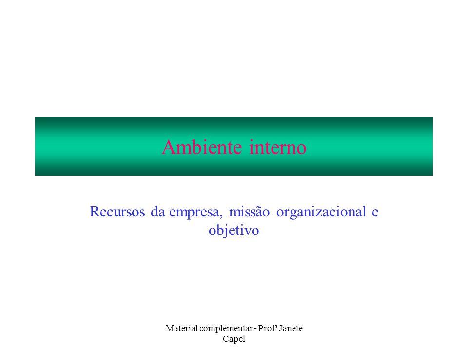 Recursos da empresa, missão organizacional e objetivo