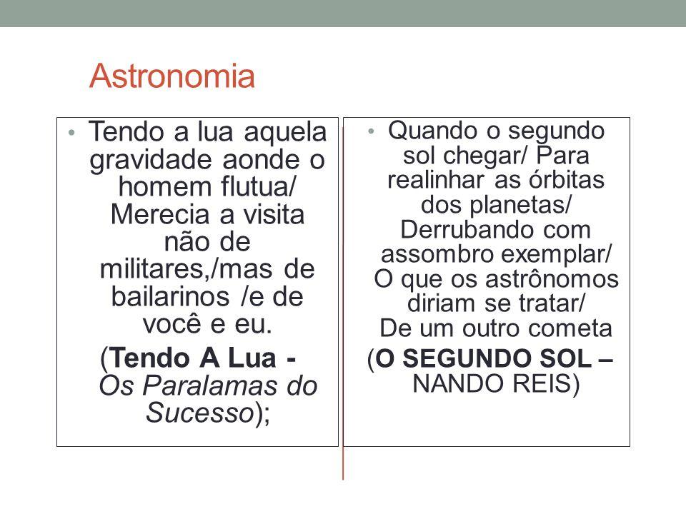 Astronomia Tendo a lua aquela gravidade aonde o homem flutua/ Merecia a visita não de militares,/mas de bailarinos /e de você e eu.
