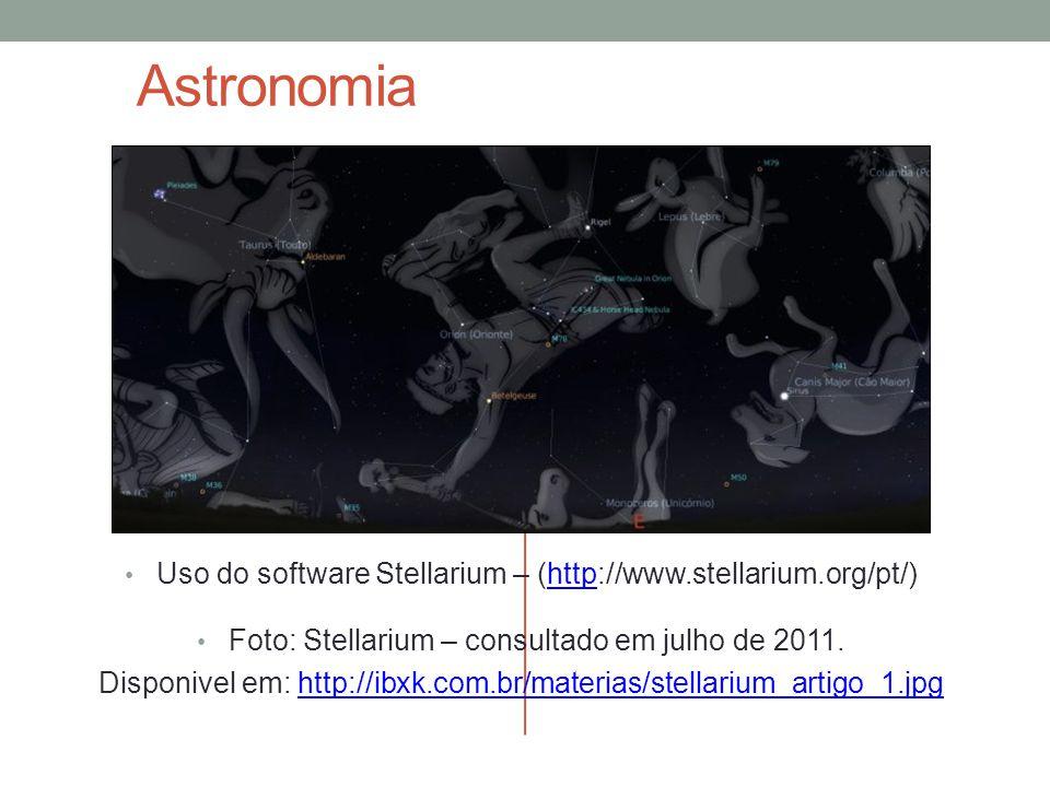 Astronomia Uso do software Stellarium – (http://www.stellarium.org/pt/) Foto: Stellarium – consultado em julho de 2011.