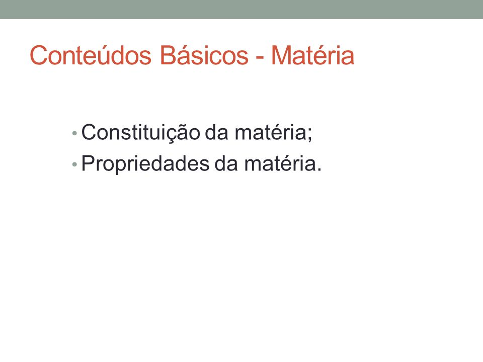 Conteúdos Básicos - Matéria