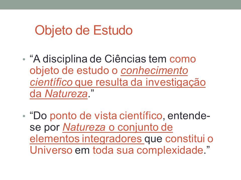 Objeto de Estudo A disciplina de Ciências tem como objeto de estudo o conhecimento científico que resulta da investigação da Natureza.