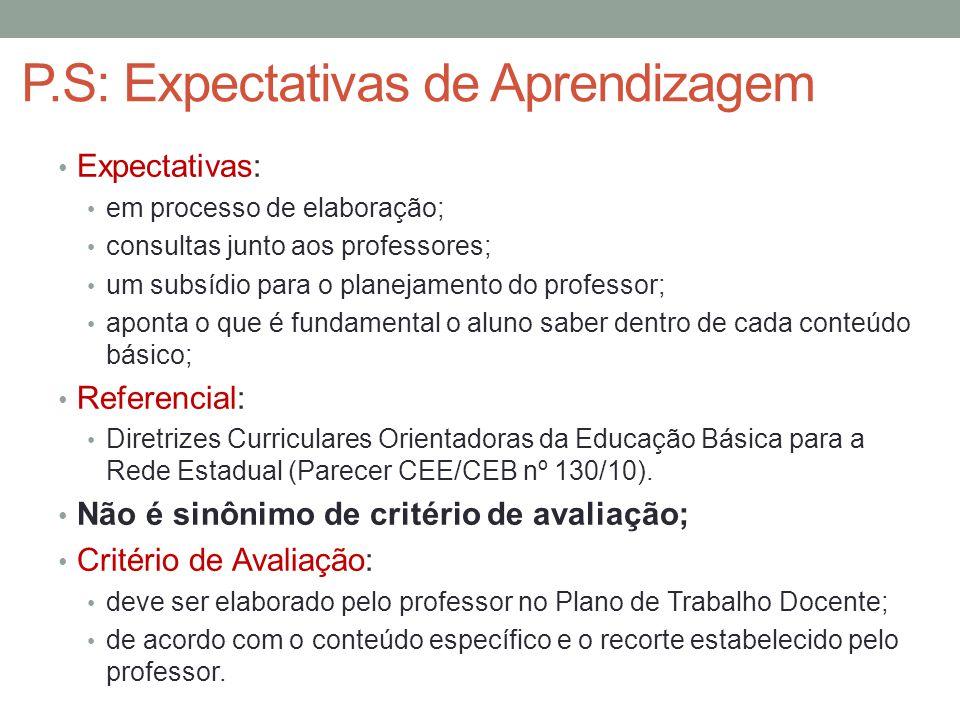 P.S: Expectativas de Aprendizagem