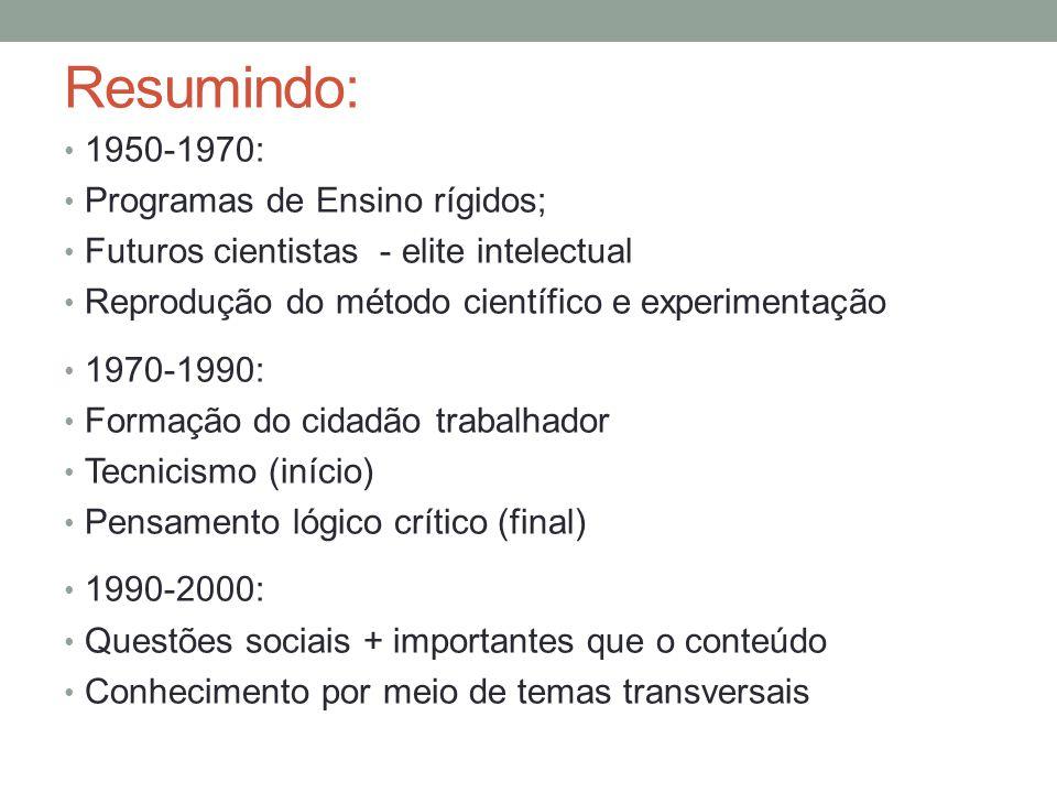 Resumindo: 1950-1970: Programas de Ensino rígidos;