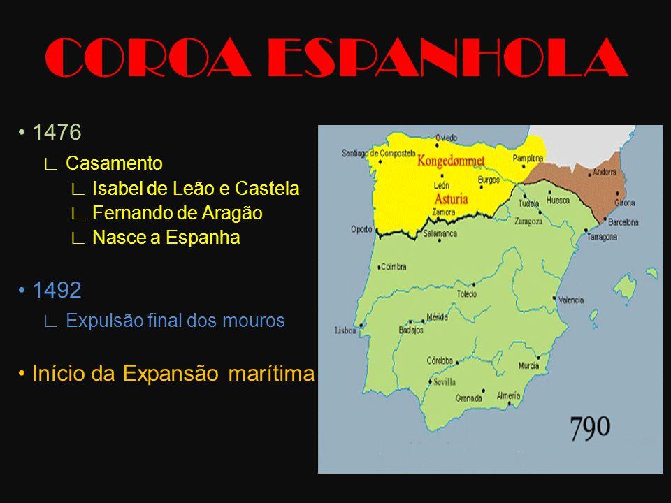 COROA ESPANHOLA • 1476 ∟ Casamento • 1492 ∟ Expulsão final dos mouros