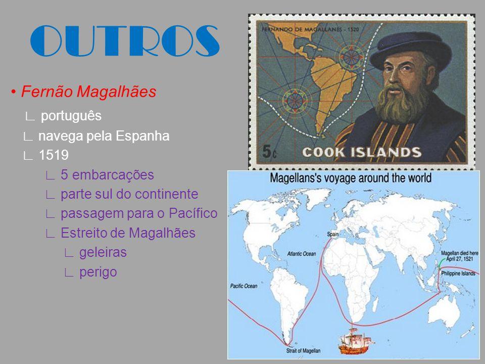 OUTROS • Fernão Magalhães ∟ português ∟ navega pela Espanha ∟ 1519