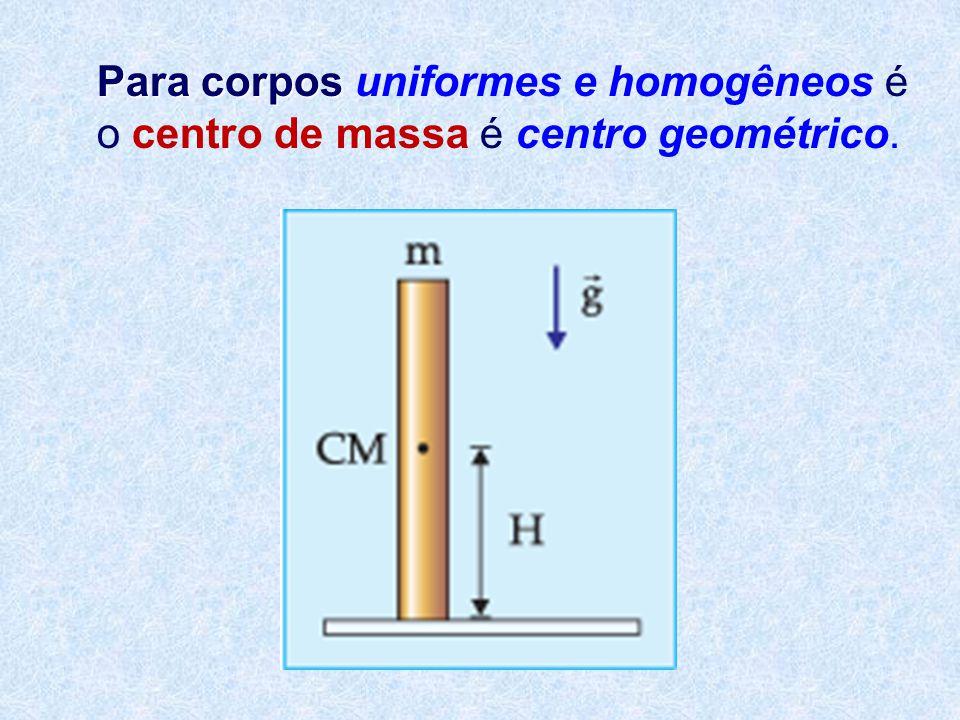 Para corpos uniformes e homogêneos é o centro de massa é centro geométrico.