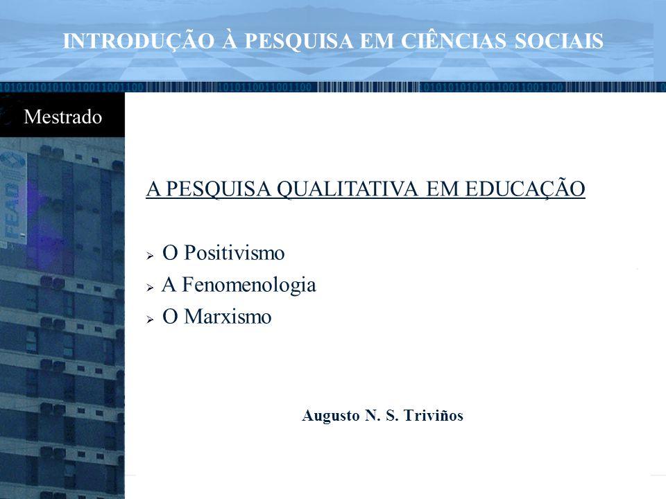 INTRODUÇÃO À PESQUISA EM CIÊNCIAS SOCIAIS