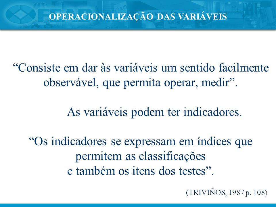OPERACIONALIZAÇÃO DAS VARIÁVEIS