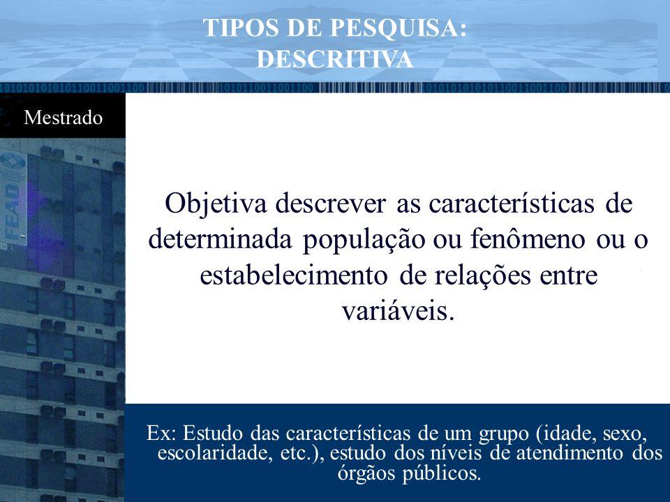 TIPOS DE PESQUISA: DESCRITIVA.
