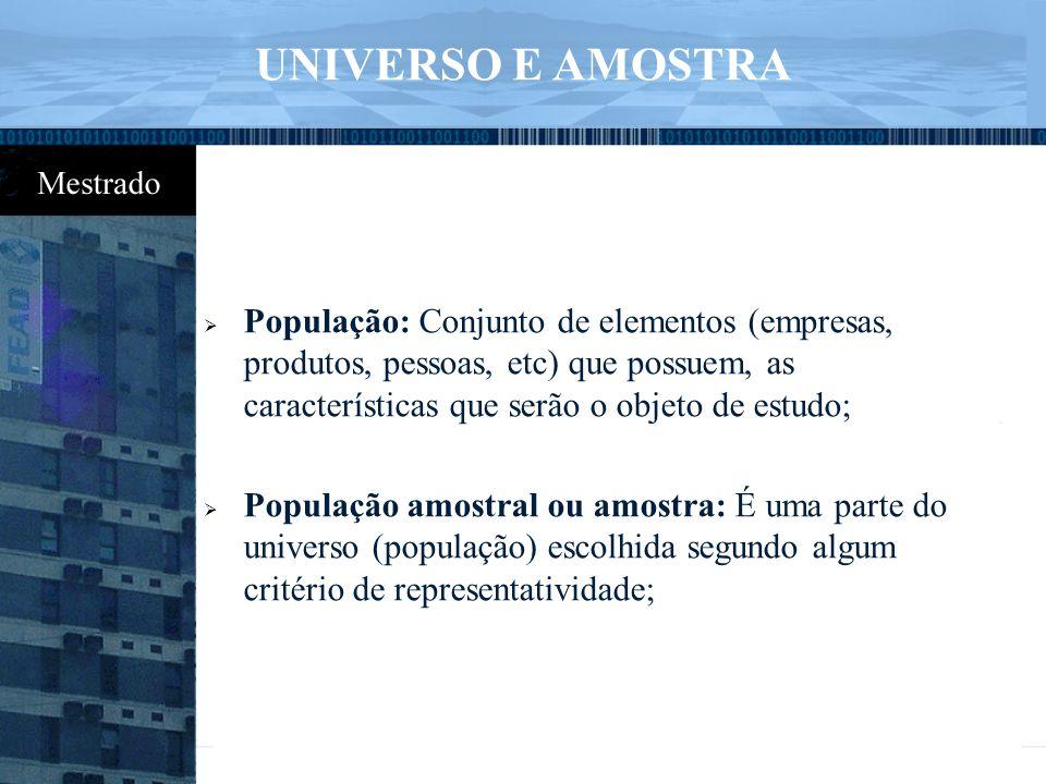 UNIVERSO E AMOSTRA População: Conjunto de elementos (empresas, produtos, pessoas, etc) que possuem, as características que serão o objeto de estudo;