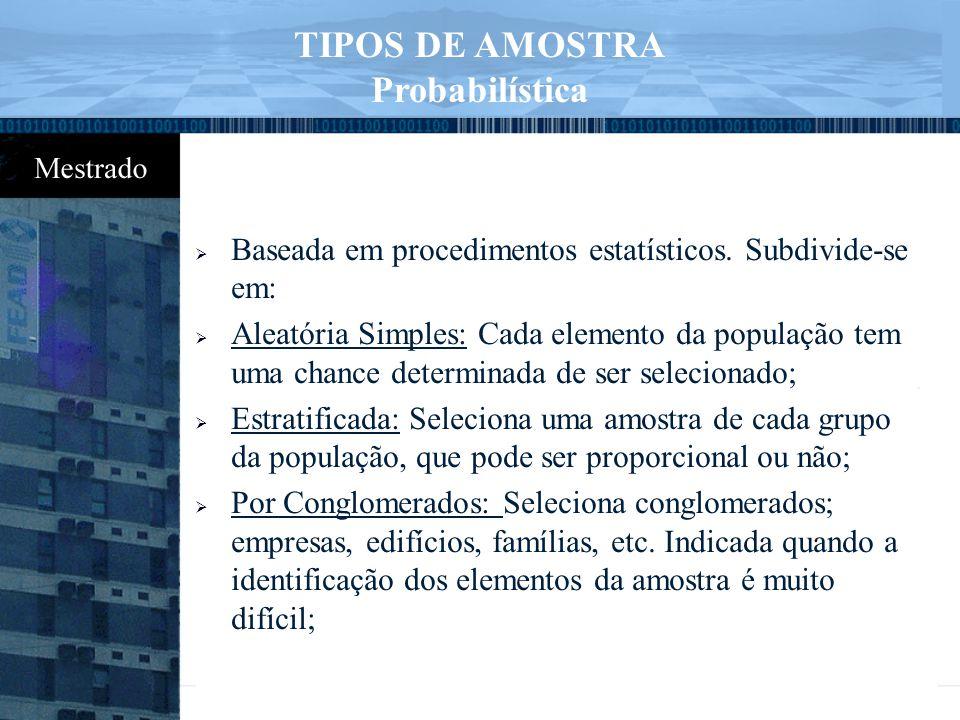 TIPOS DE AMOSTRA Probabilística
