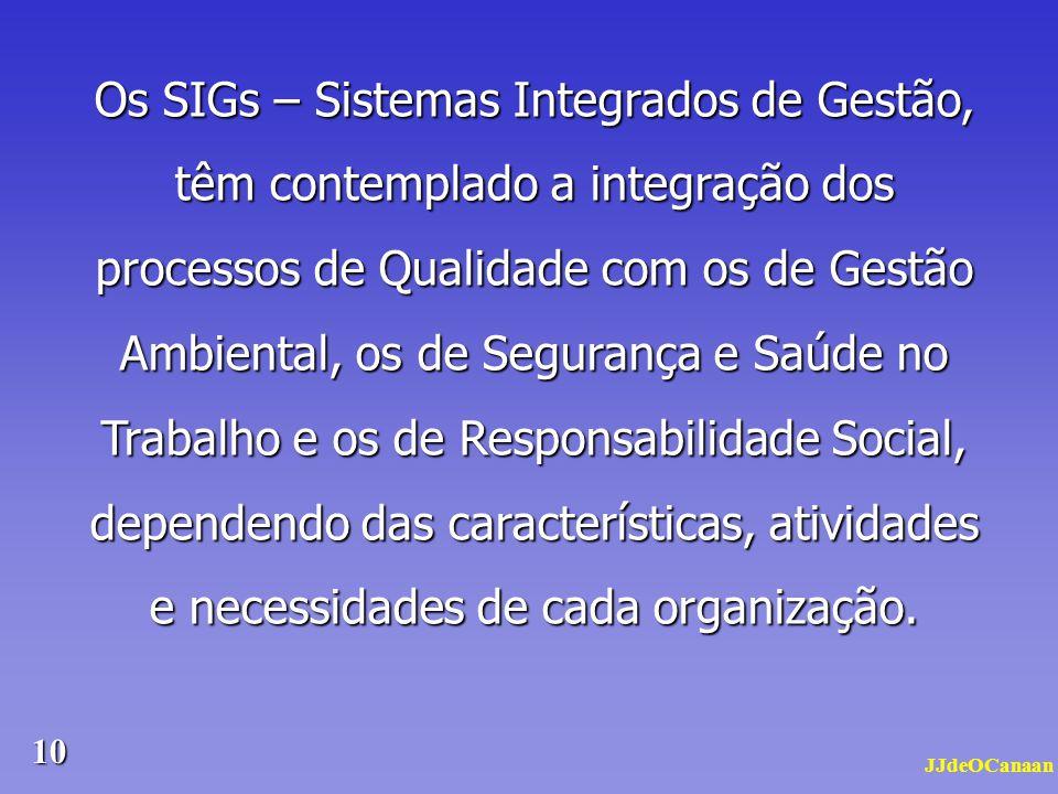 Os SIGs – Sistemas Integrados de Gestão, têm contemplado a integração dos processos de Qualidade com os de Gestão Ambiental, os de Segurança e Saúde no Trabalho e os de Responsabilidade Social, dependendo das características, atividades e necessidades de cada organização.