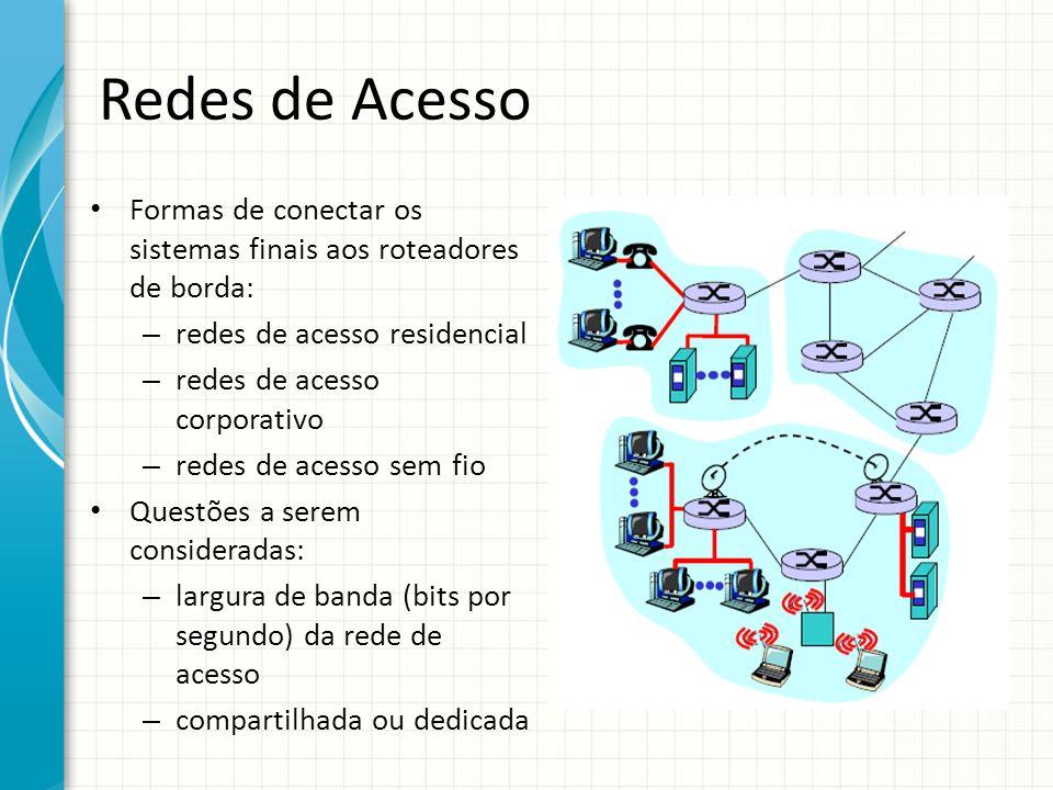 Redes de Acesso Formas de conectar os sistemas finais aos roteadores de borda: redes de acesso residencial.