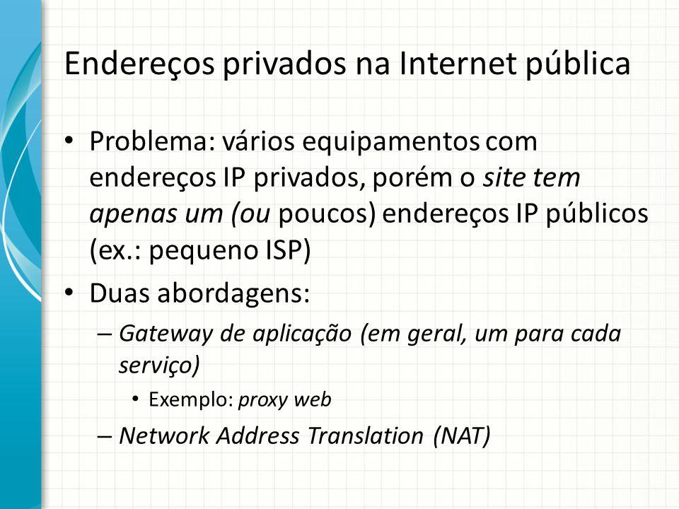 Endereços privados na Internet pública