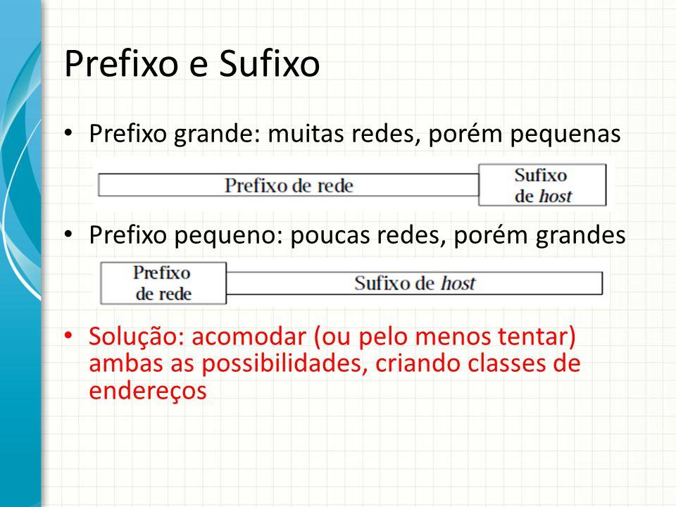 Prefixo e Sufixo Prefixo grande: muitas redes, porém pequenas