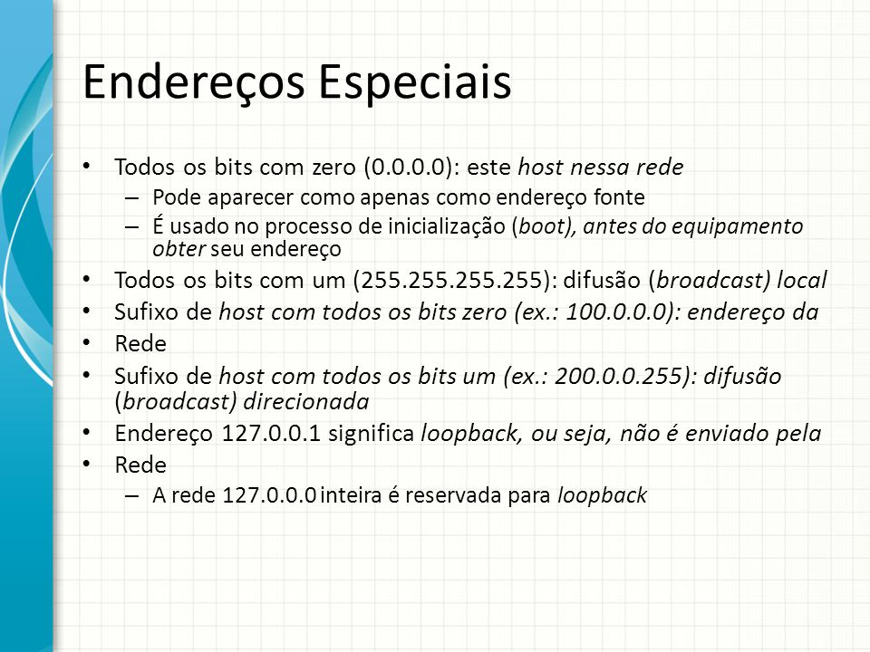 Endereços Especiais Todos os bits com zero (0.0.0.0): este host nessa rede. Pode aparecer como apenas como endereço fonte.