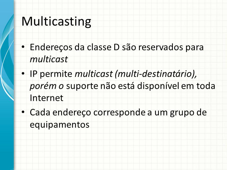 Multicasting Endereços da classe D são reservados para multicast