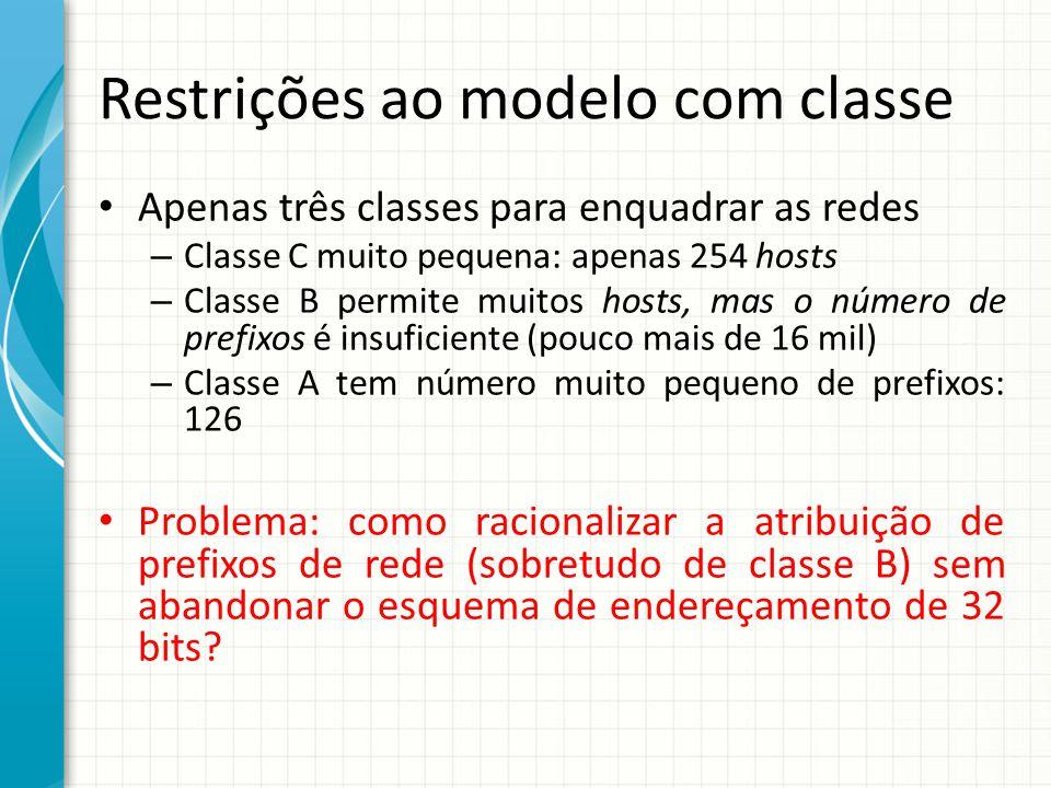 Restrições ao modelo com classe