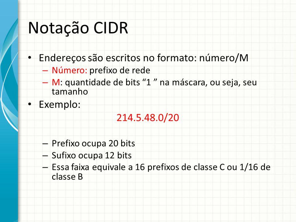 Notação CIDR Endereços são escritos no formato: número/M Exemplo: