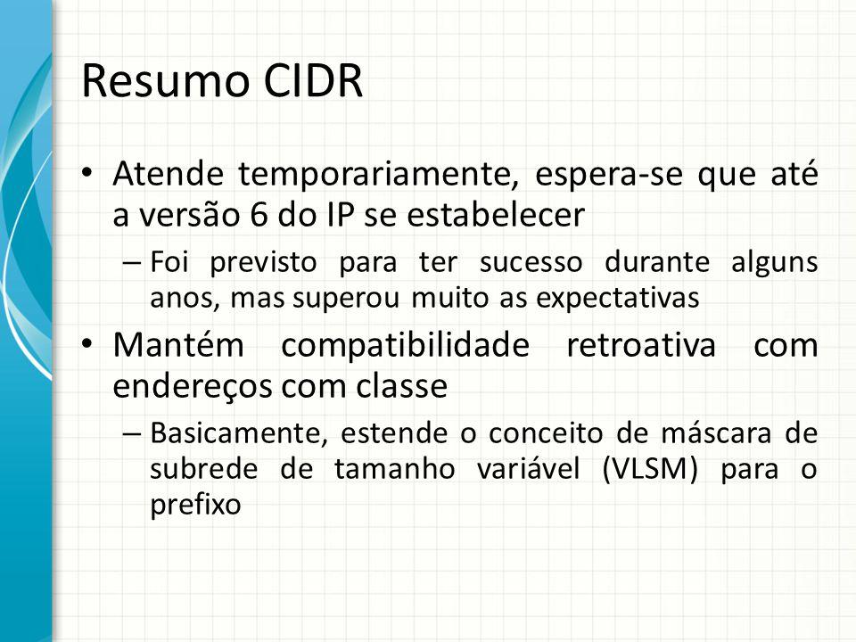 Resumo CIDR Atende temporariamente, espera-se que até a versão 6 do IP se estabelecer.