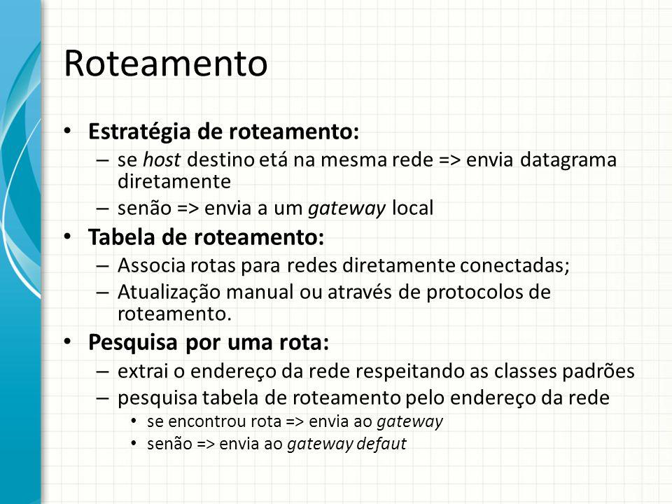 Roteamento Estratégia de roteamento: Tabela de roteamento: