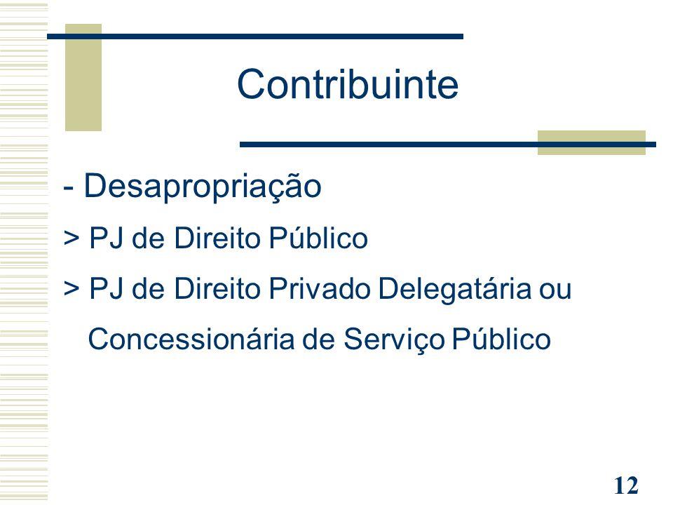 Contribuinte - Desapropriação > PJ de Direito Público