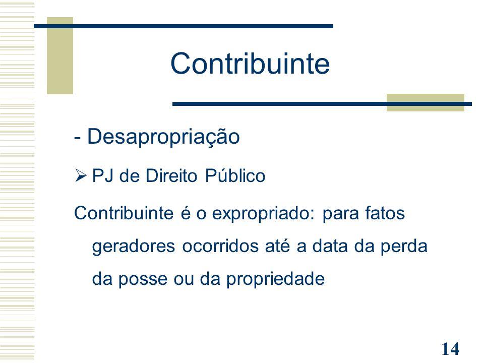 Contribuinte - Desapropriação PJ de Direito Público