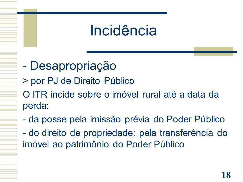 Incidência - Desapropriação > por PJ de Direito Público