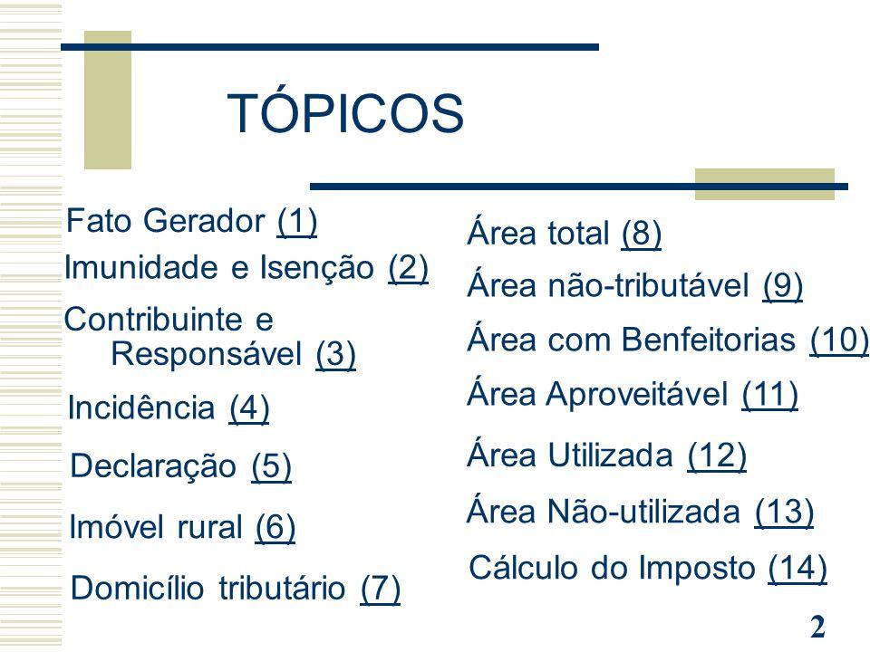 TÓPICOS Fato Gerador (1) Área total (8) Imunidade e Isenção (2)