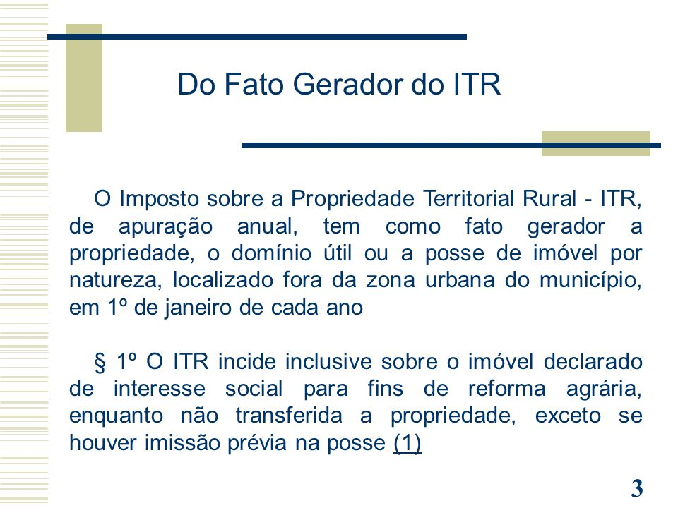 Do Fato Gerador do ITR