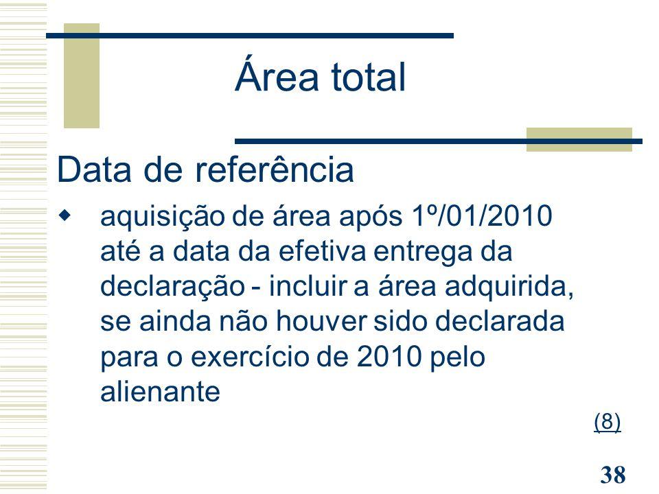 Área total Data de referência