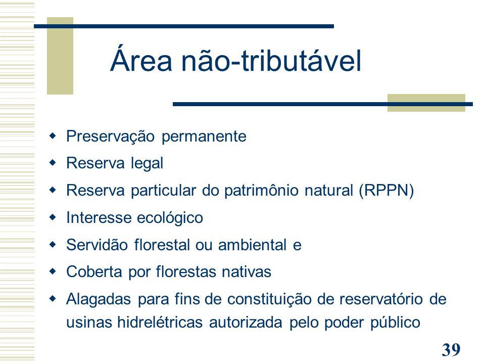 Área não-tributável Preservação permanente Reserva legal