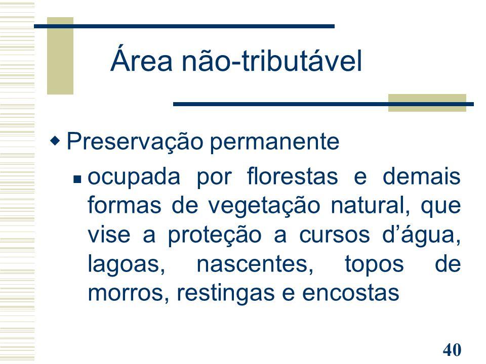 Área não-tributável Preservação permanente
